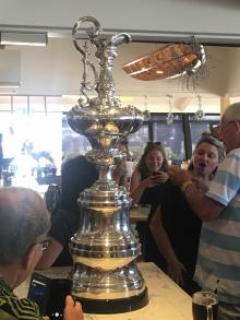 The America's cup at the Bucklands beach yacht club this afternoon